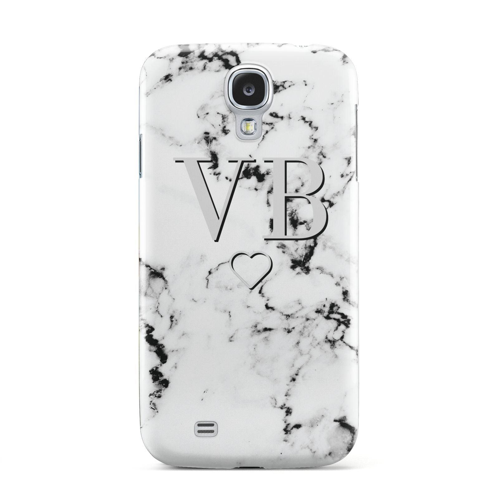 Personalised Initials Outline Heart Marble Samsung Galaxy S4 Case