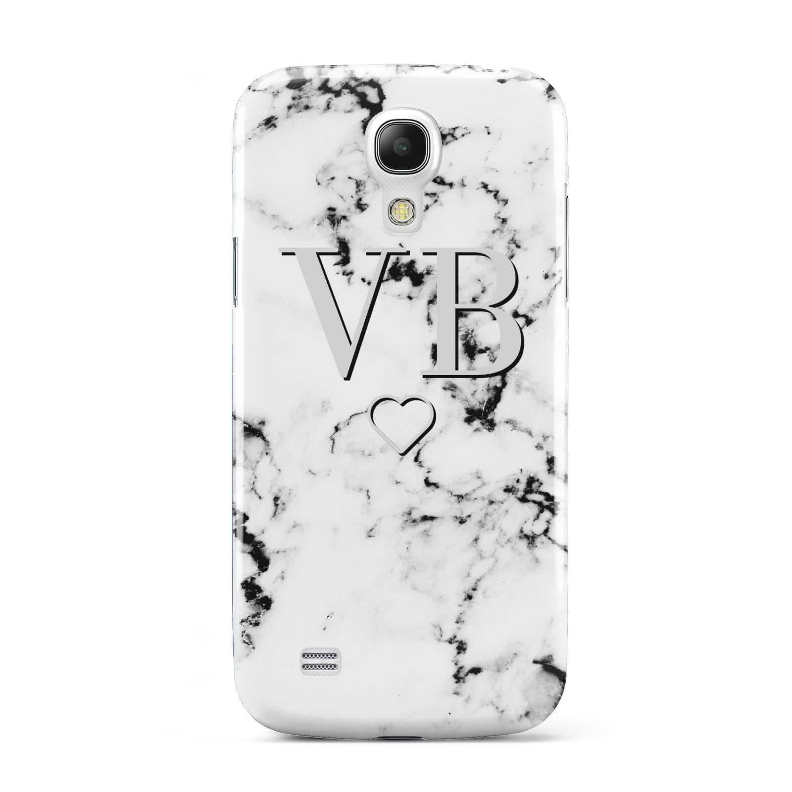 Personalised Initials Outline Heart Marble Samsung Galaxy S4 Mini Case