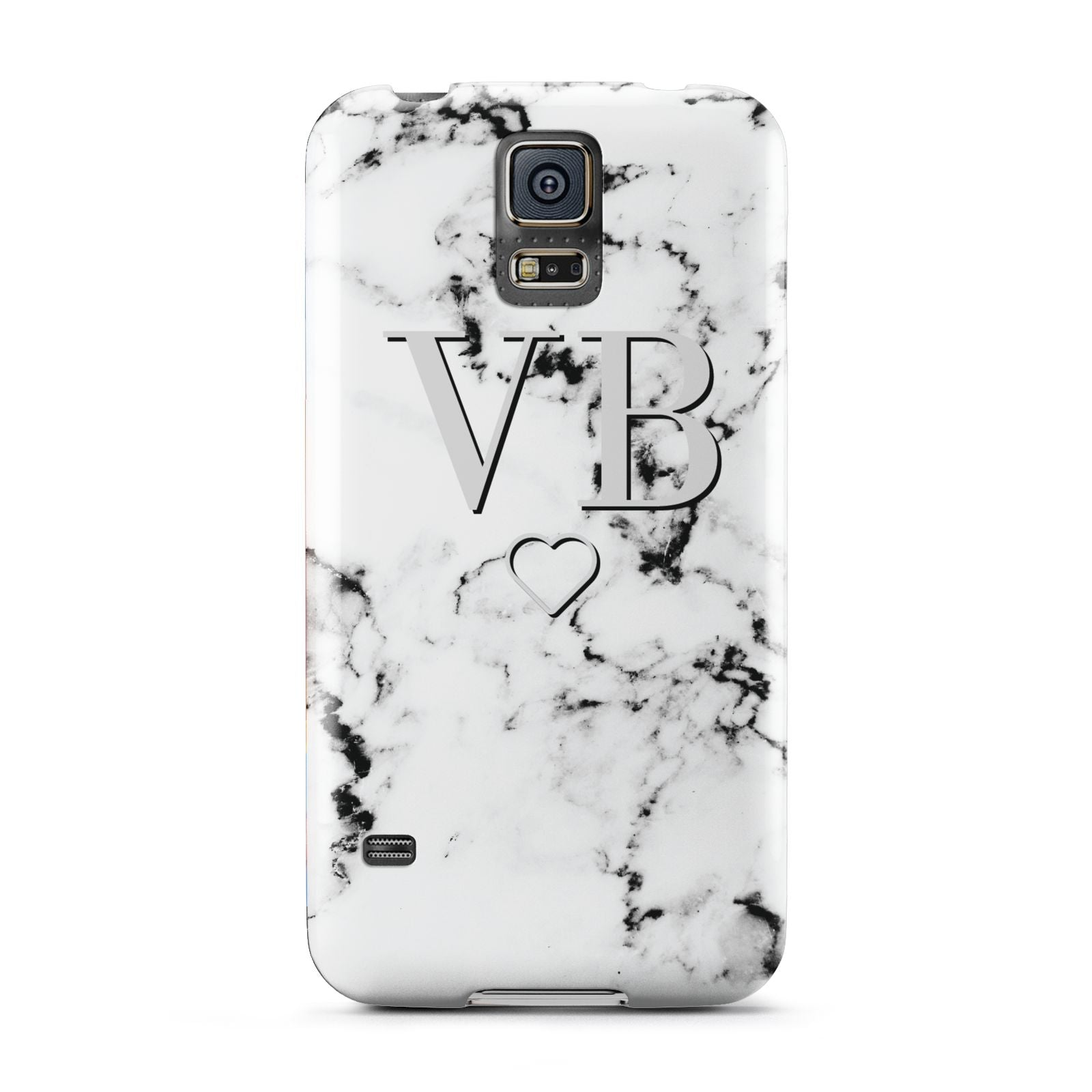 Personalised Initials Outline Heart Marble Samsung Galaxy S5 Case