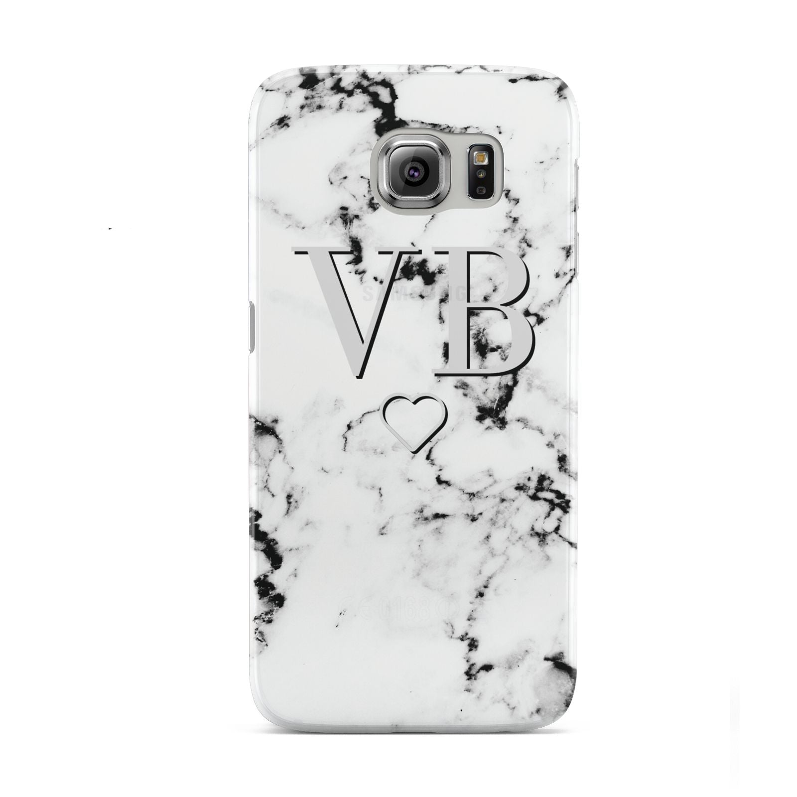 Personalised Initials Outline Heart Marble Samsung Galaxy S6 Case