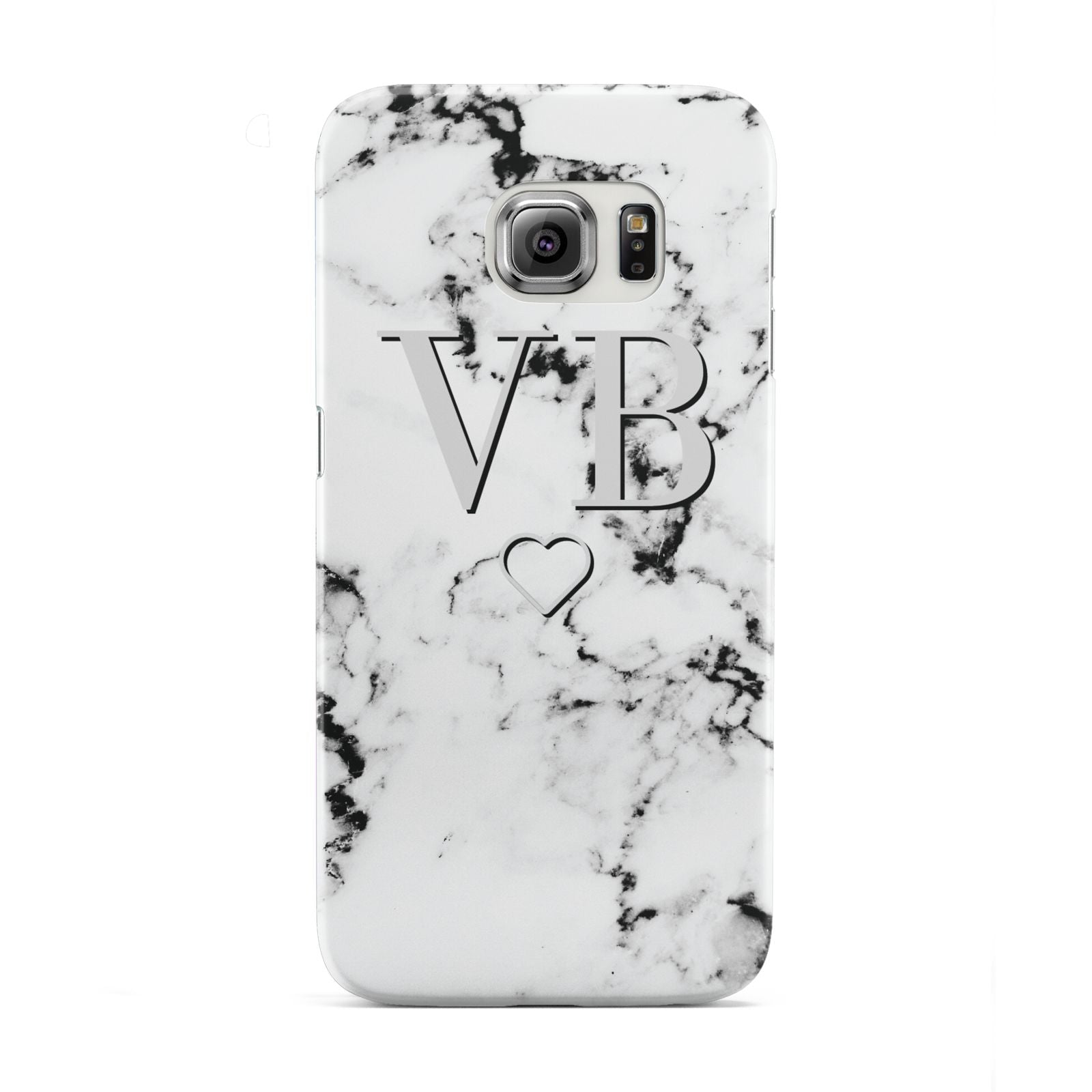 Personalised Initials Outline Heart Marble Samsung Galaxy S6 Edge Case