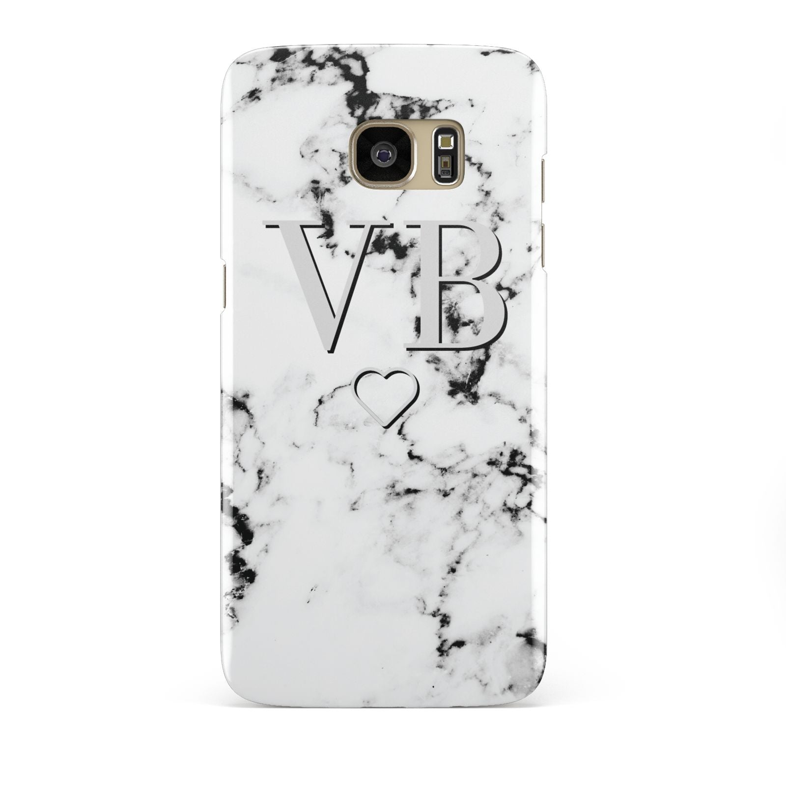 Personalised Initials Outline Heart Marble Samsung Galaxy S7 Edge Case