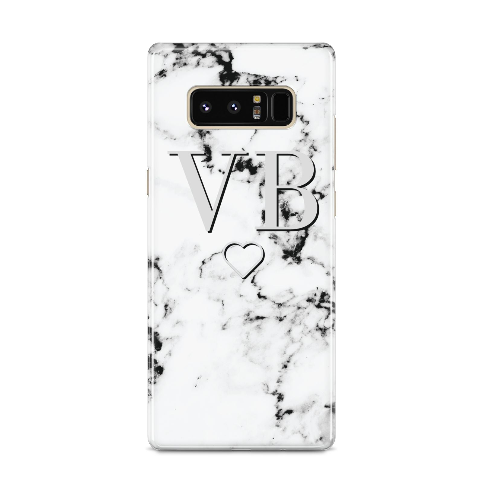 Personalised Initials Outline Heart Marble Samsung Galaxy S8 Case
