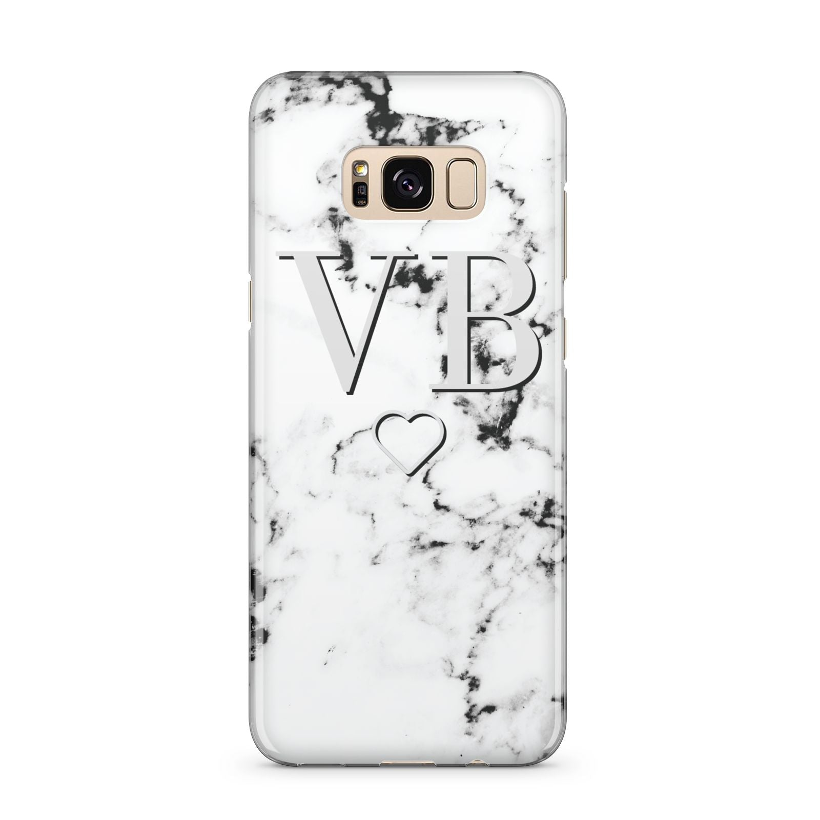 Personalised Initials Outline Heart Marble Samsung Galaxy S8 Plus Case