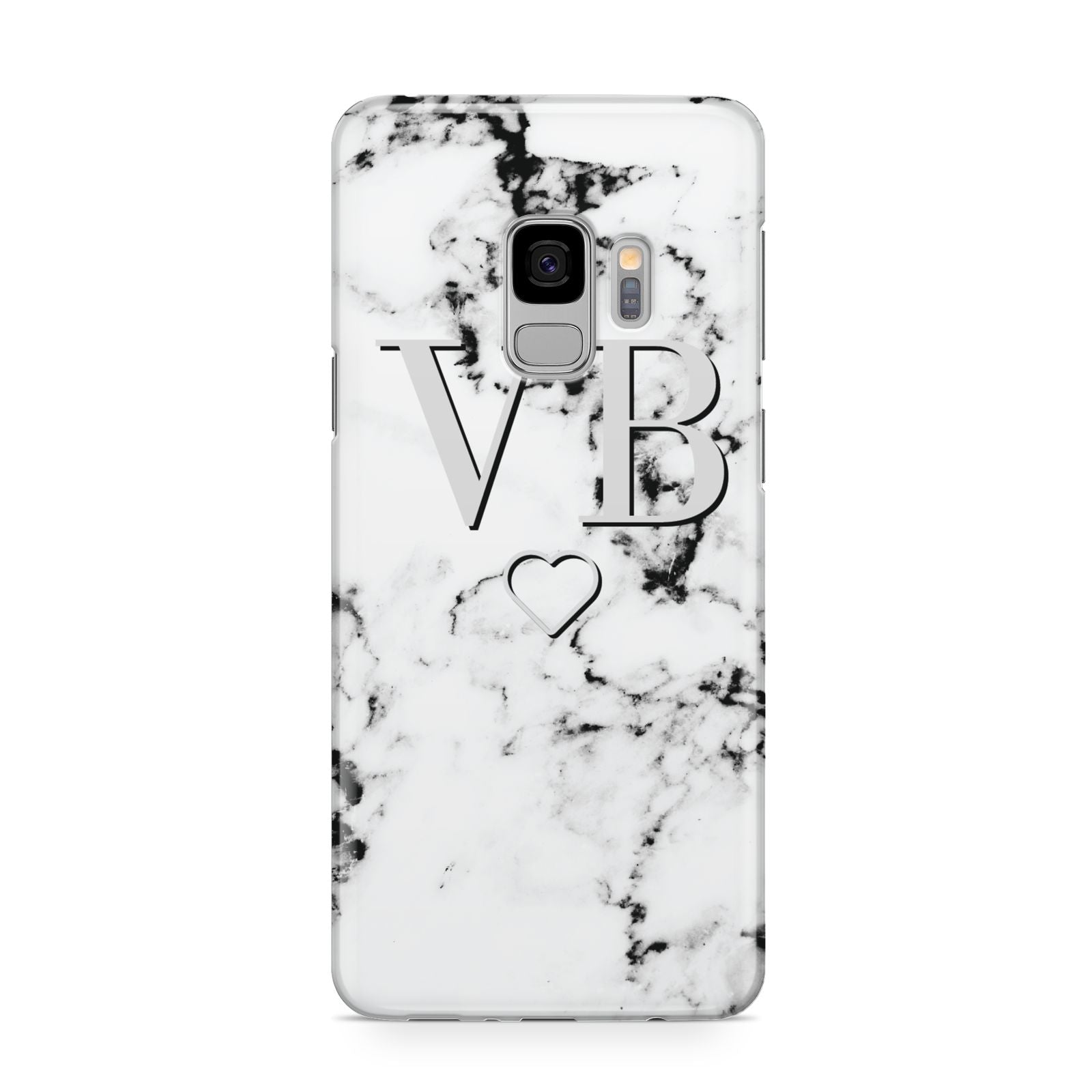 Personalised Initials Outline Heart Marble Samsung Galaxy S9 Case