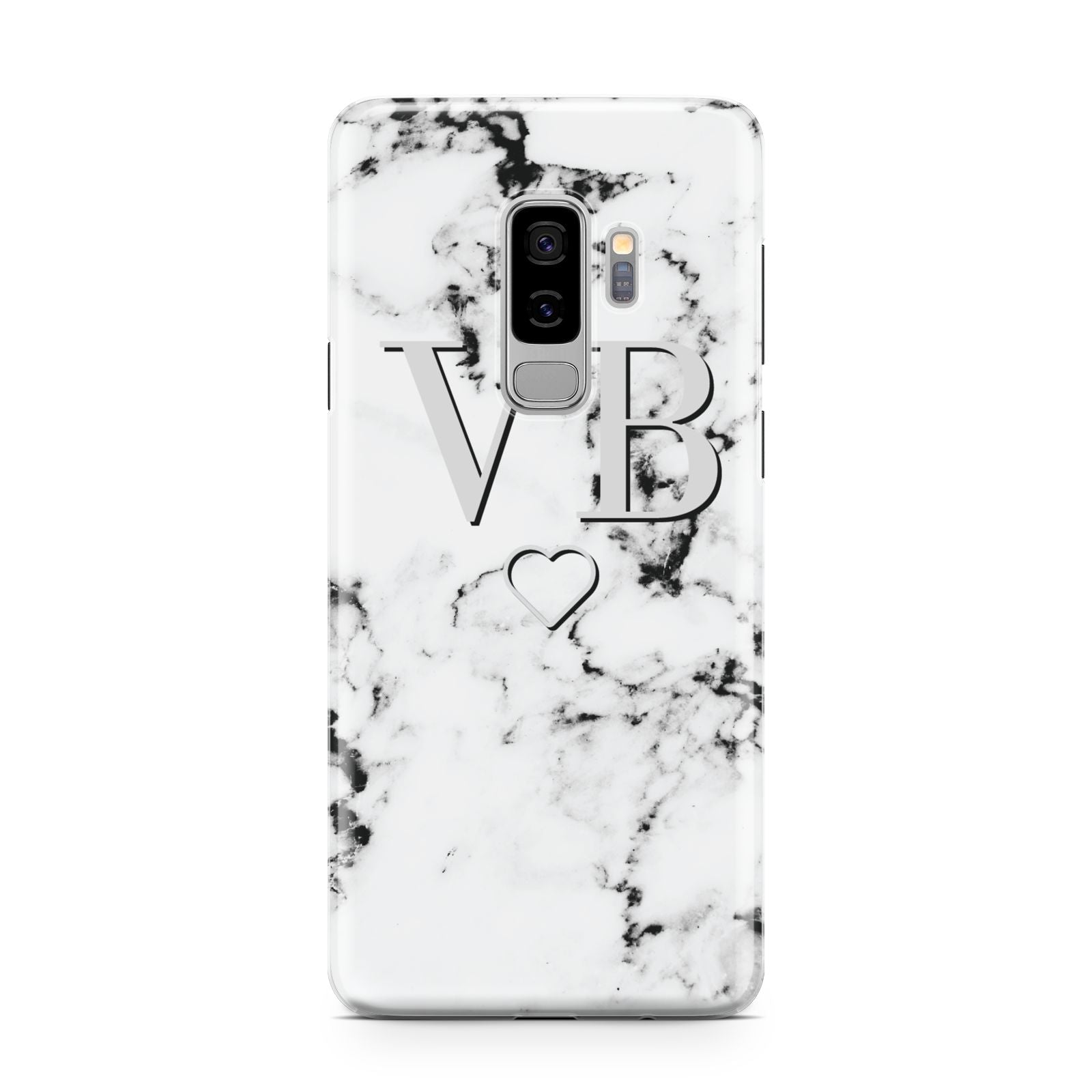 Personalised Initials Outline Heart Marble Samsung Galaxy S9 Plus Case on Silver phone