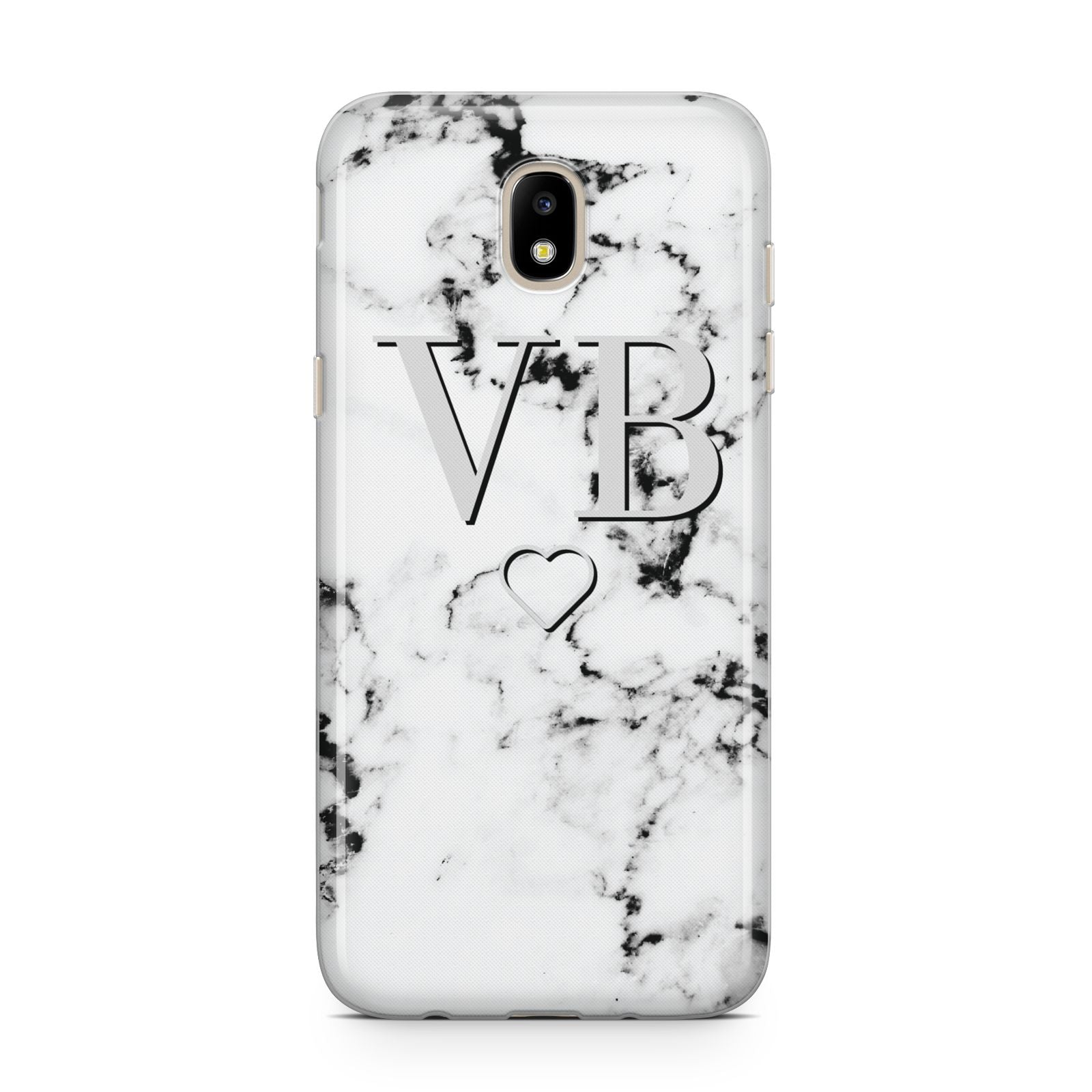 Personalised Initials Outline Heart Marble Samsung J5 2017 Case