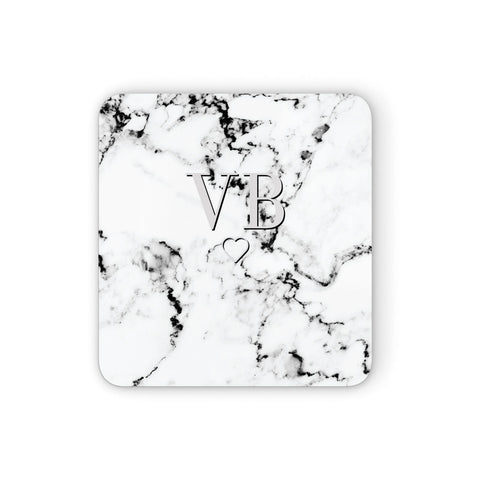 Personalised Initials Outline Heart Marble Coasters set of 4