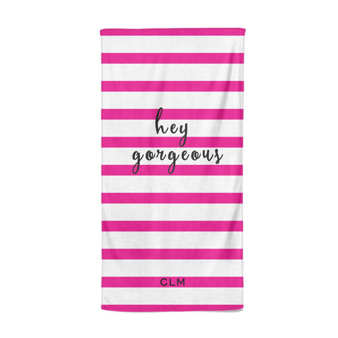 Personalised Initials Pink Striped Beach Towel