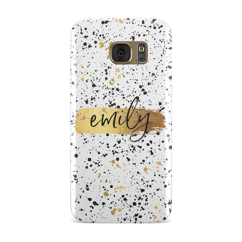 Personalised White & Gold Ink Splat Name Samsung Galaxy Case