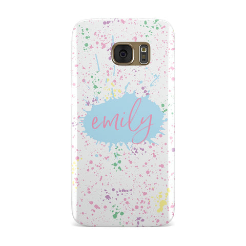 Personalised Multi Ink Splatter Name Samsung Galaxy Case