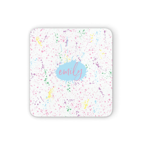 Personalised Ink Splatter Mulitcoloured Coasters set of 4