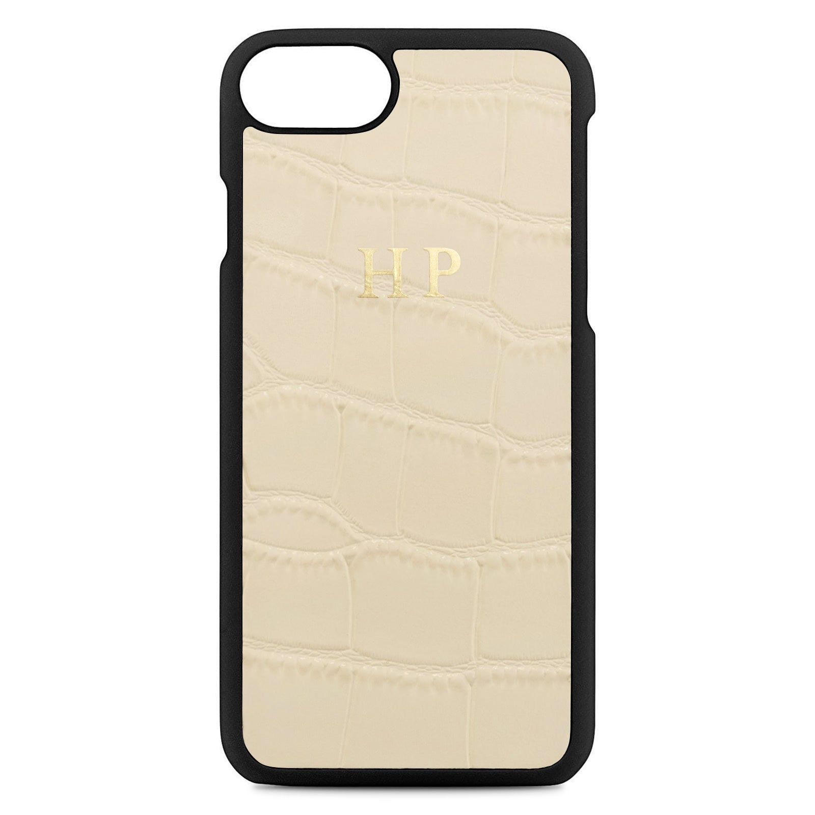 Personalised Ivory Croc Leather iPhone Case