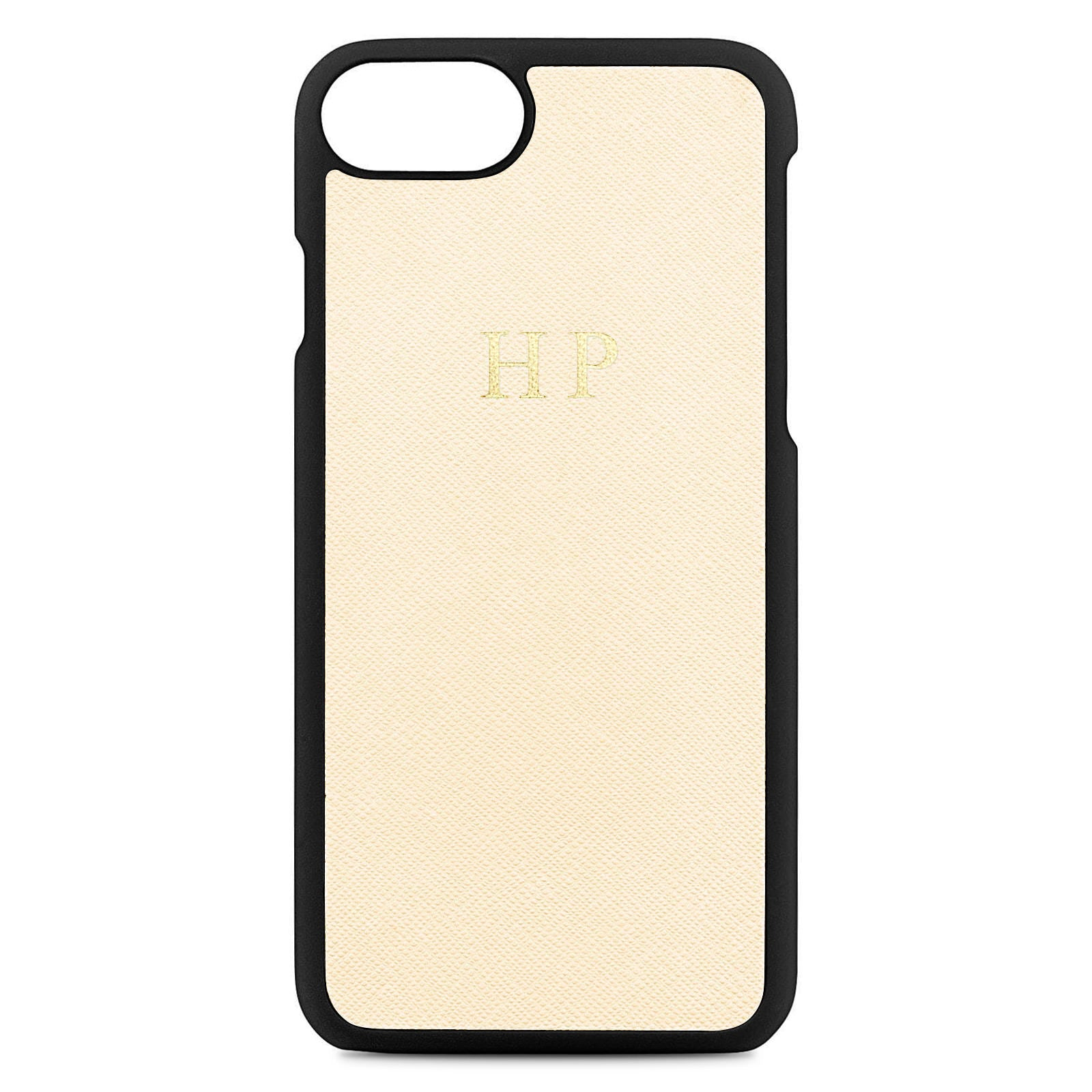 Personalised Ivory Saffiano Leather iPhone Case