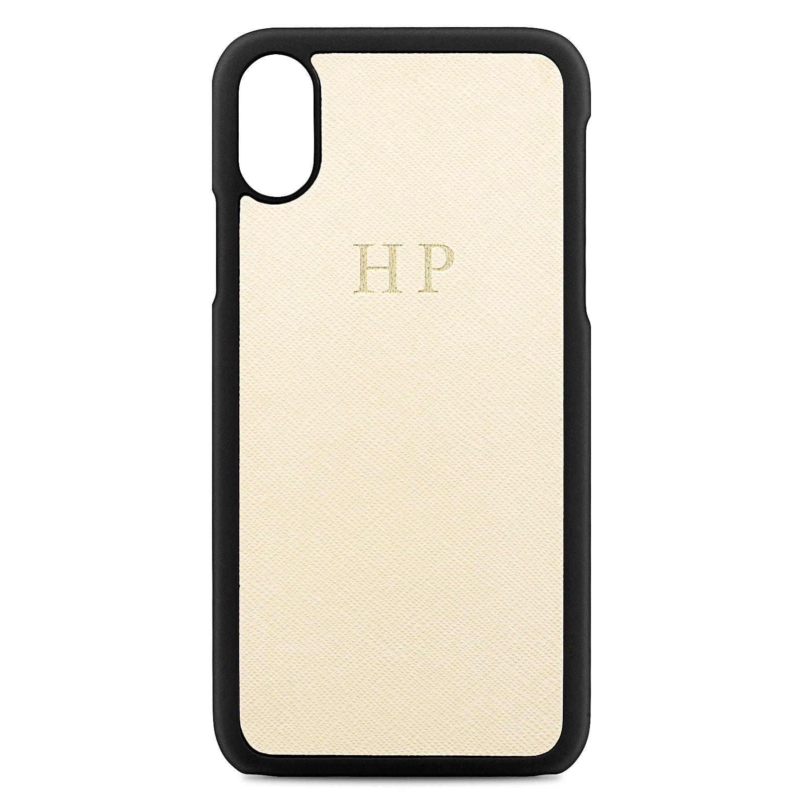 Personalised Ivory Saffiano Leather iPhone X Case