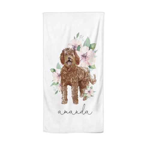 Personalised Labradoodle Beach Towel