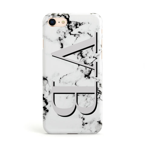 Personalised Landscape Initials With Marble Apple iPhone Case