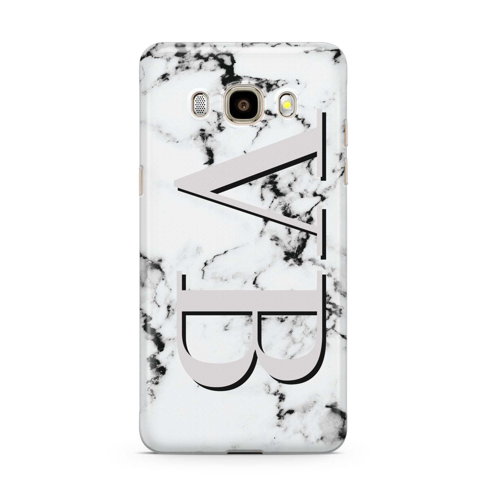 Personalised Landscape Initials With Marble Samsung Galaxy J7 2016 Case on gold phone