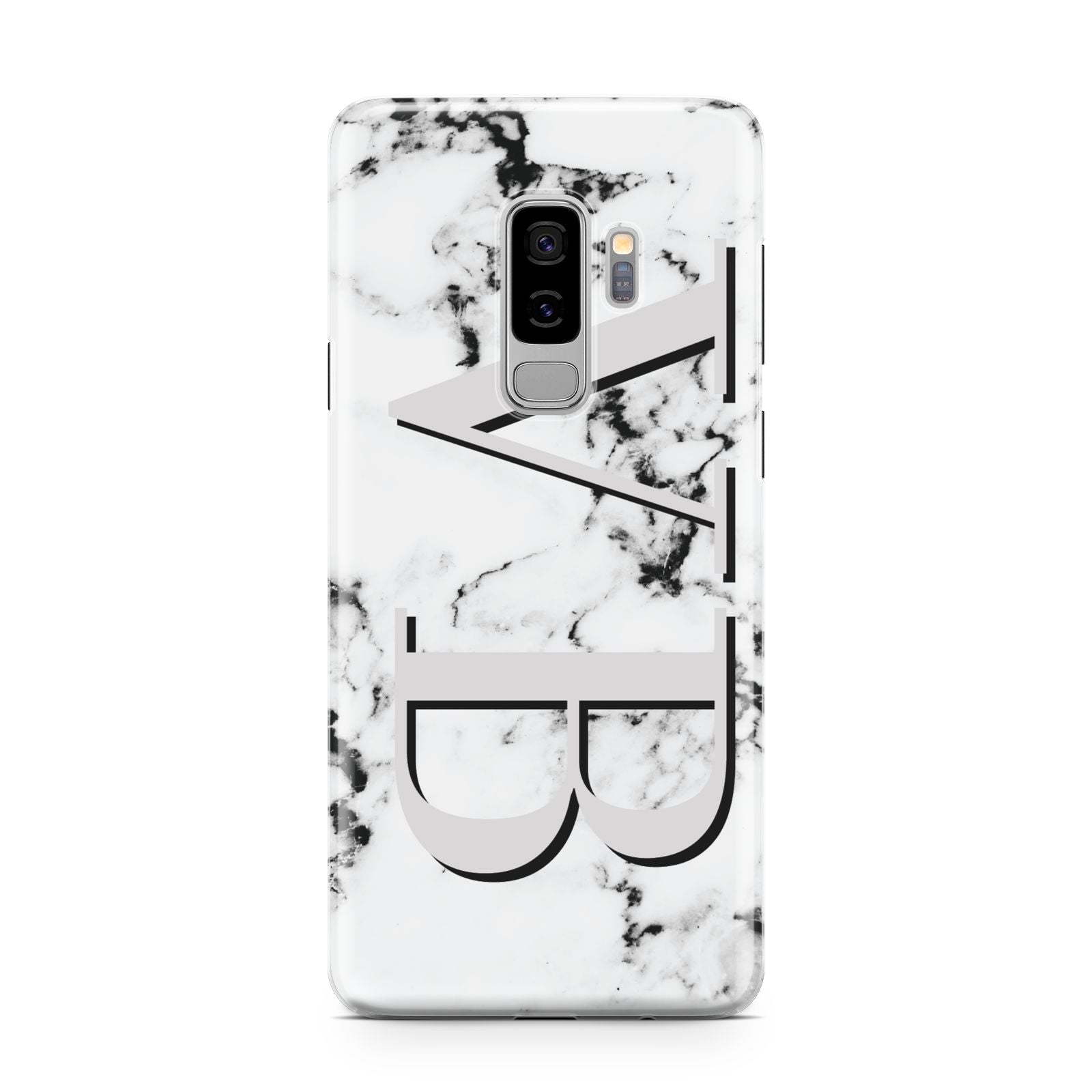 Personalised Landscape Initials With Marble Samsung Galaxy S9 Plus Case on Silver phone