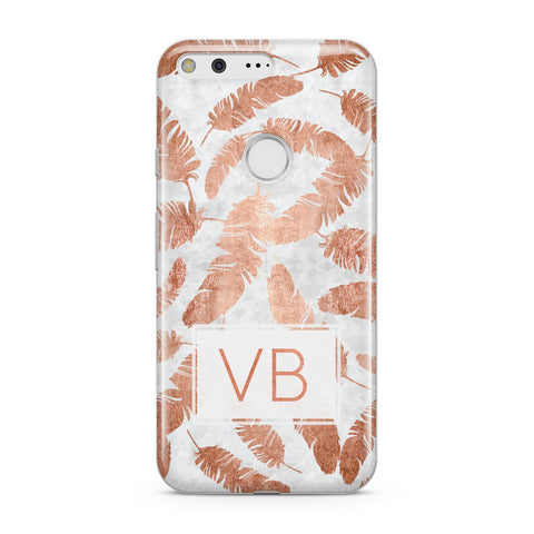 Personalised Leaf Marble Initials Google Case