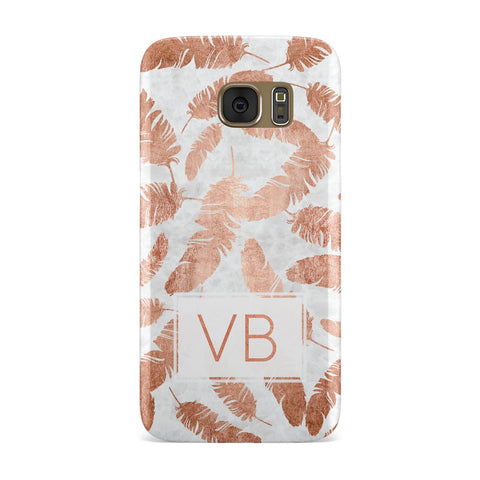 Personalised Leaf Marble Initials Samsung Galaxy Case