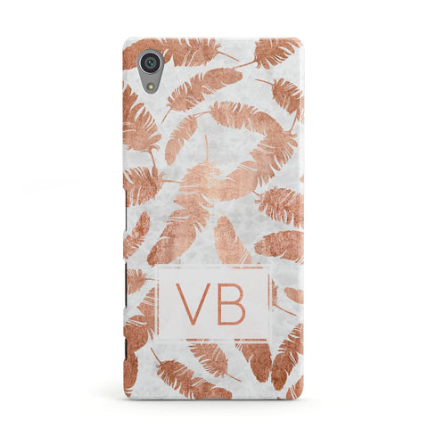 Personalised Leaf Marble Initials Sony Xperia Case
