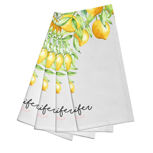 Personalised Lemons Drop Cotton Napkins Set of 4