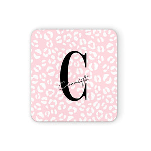 Personalised Leopard Pink White Square Coaster