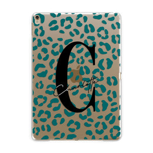 Personalised Leopard Print Clear Green Apple iPad Gold Case