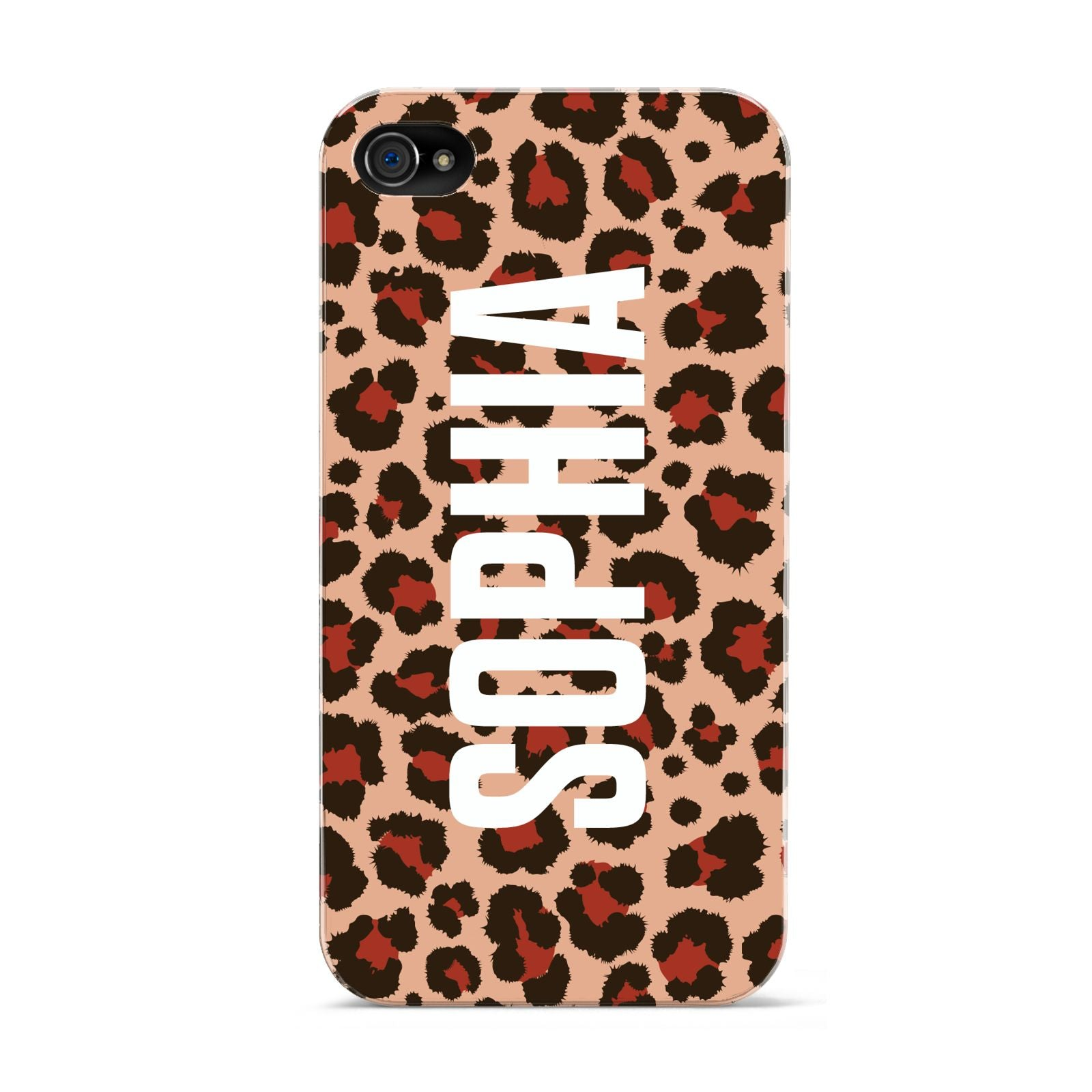 Personalised Leopard Print Name Apple iPhone 4s Case