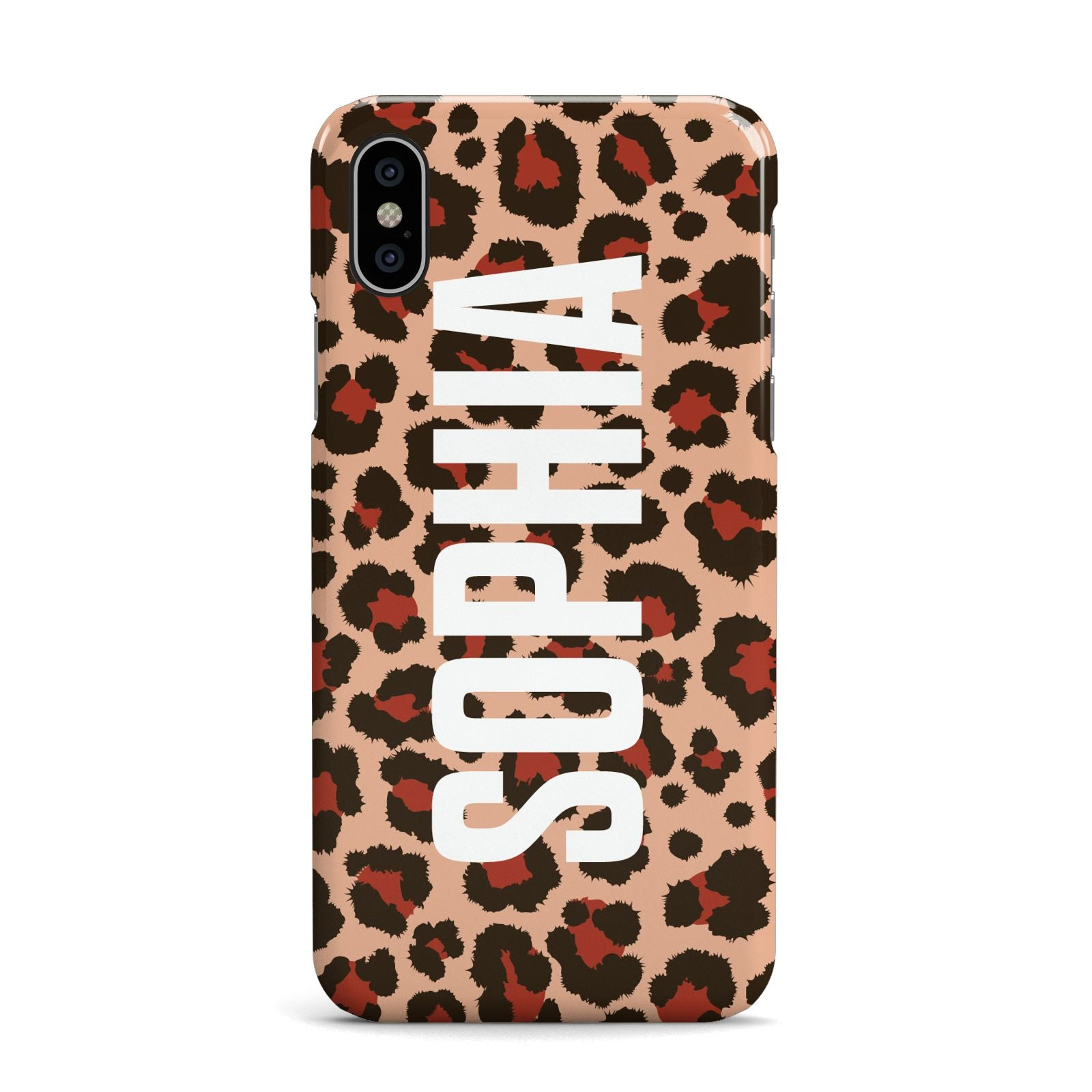 Personalised Leopard Print Name Apple iPhone X Case