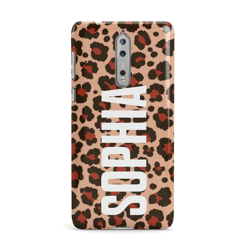 Personalised Leopard Print Name Nokia Case
