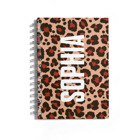 Personalised Leopard Print Name Notebook