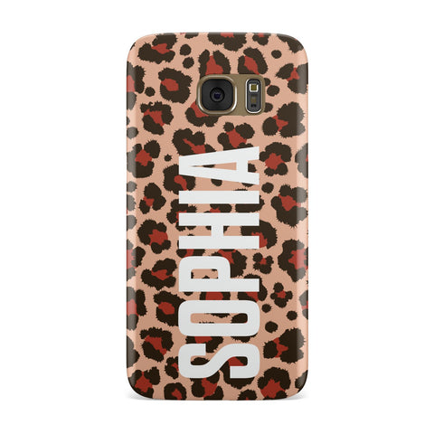 Personalised Leopard Print Name Samsung Galaxy Case