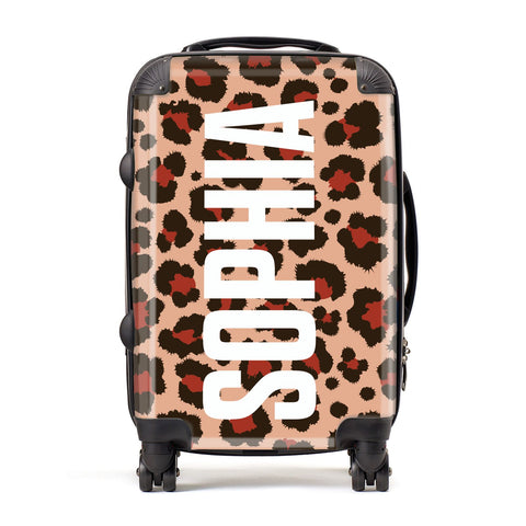 Personalised Leopard Print Name Suitcase