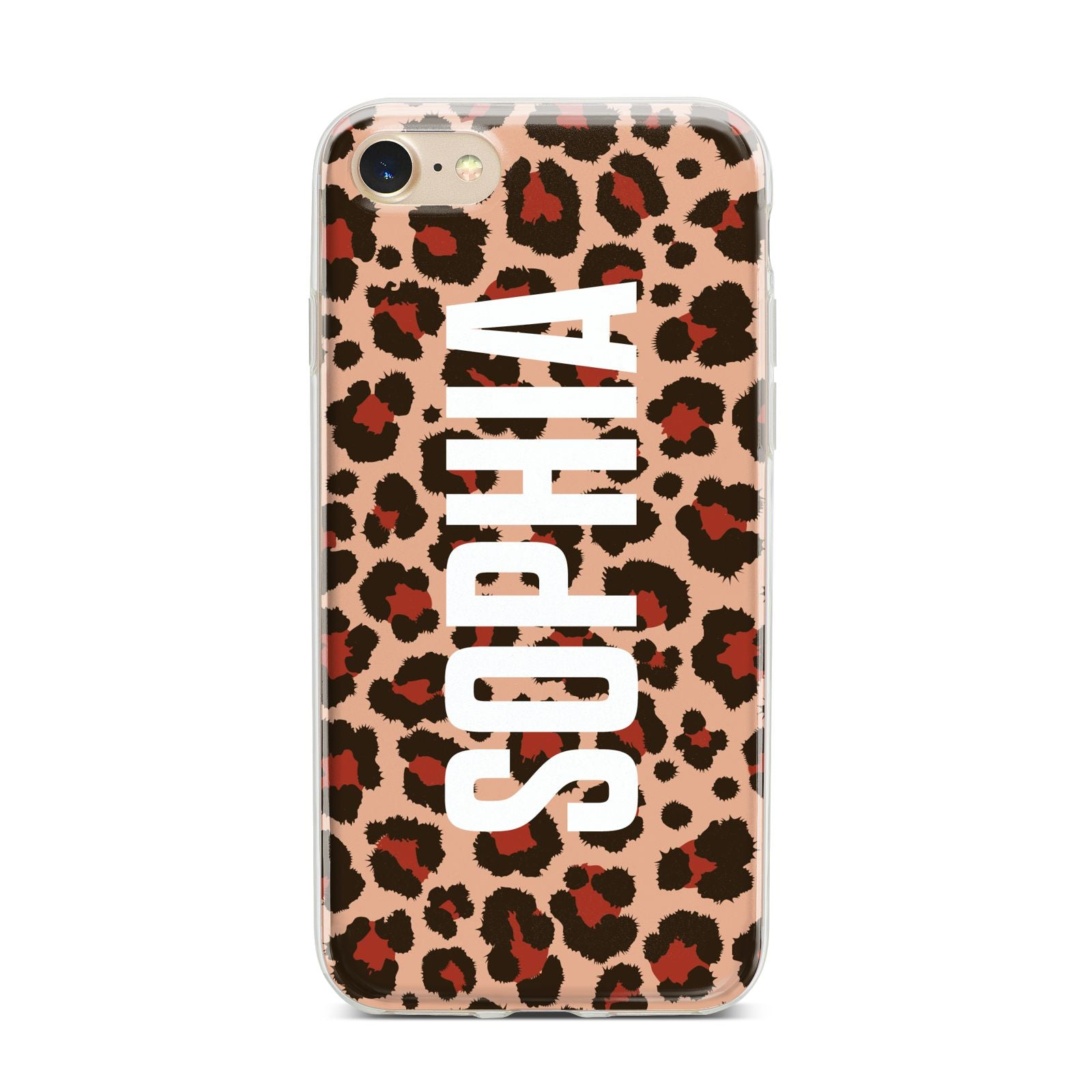 Personalised Leopard Print Name iPhone 7 Bumper Case on Gold iPhone
