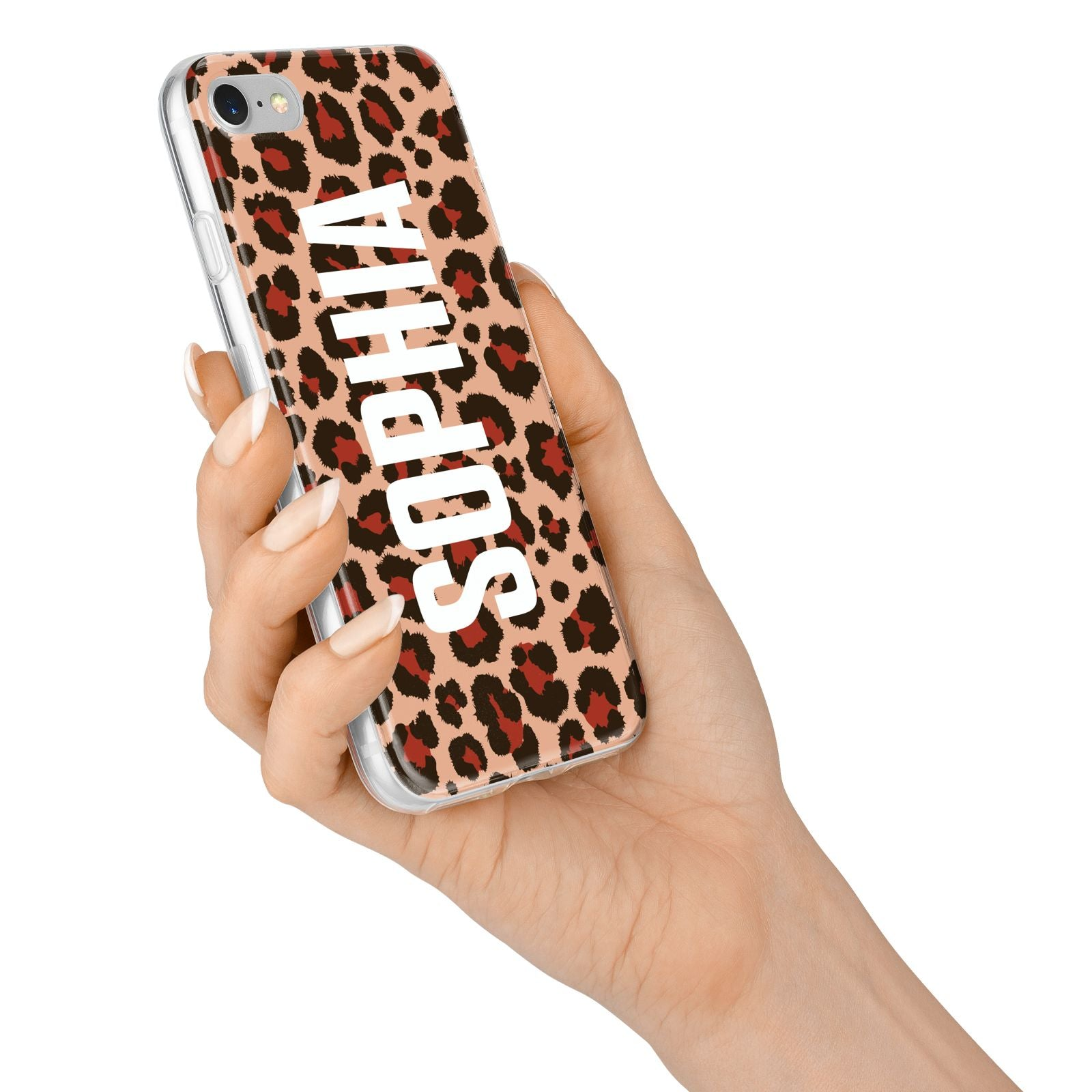 Personalised Leopard Print Name iPhone 7 Bumper Case on Silver iPhone Alternative Image