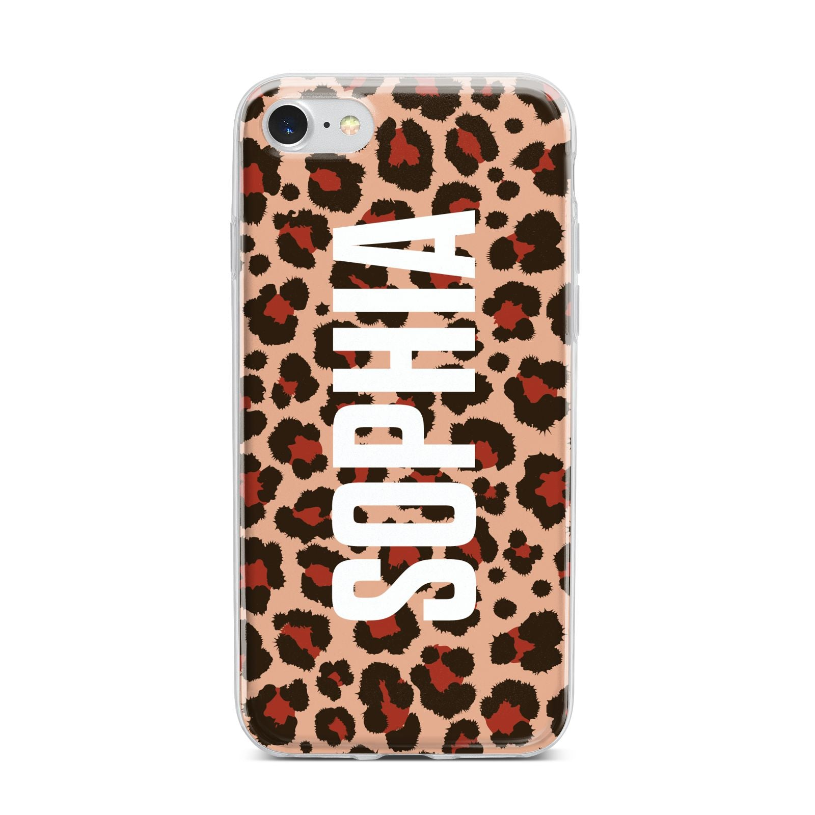 Personalised Leopard Print Name iPhone 7 Bumper Case on Silver iPhone