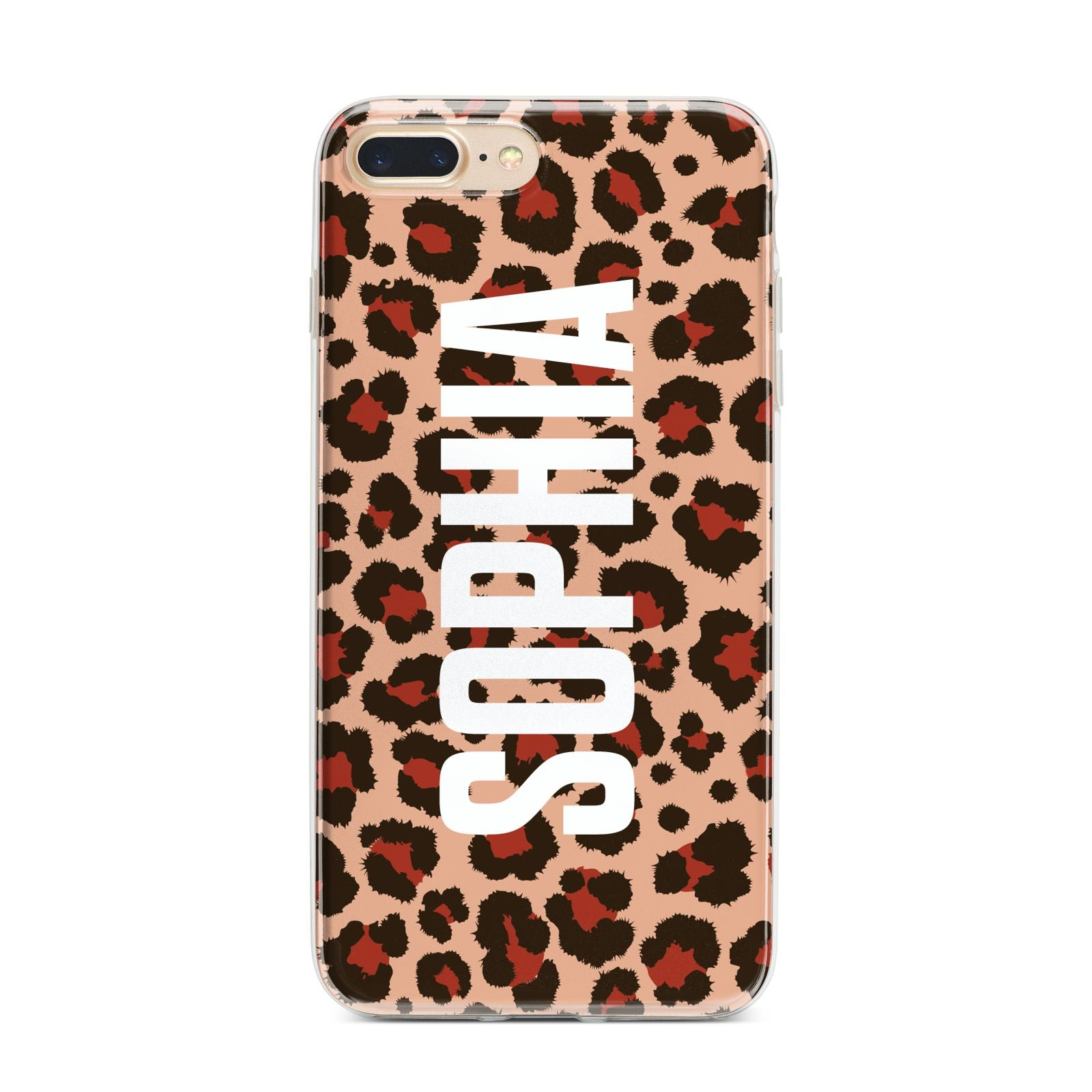 Personalised Leopard Print Name iPhone 7 Plus Bumper Case on Gold iPhone