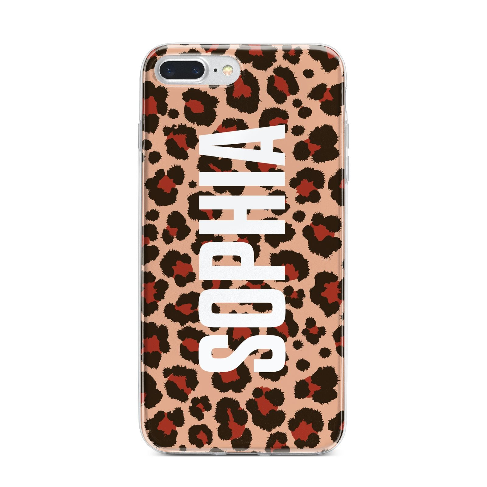 Personalised Leopard Print Name iPhone 7 Plus Bumper Case on Silver iPhone