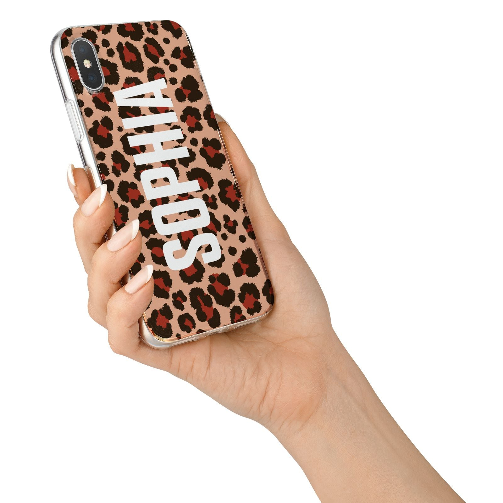 Personalised Leopard Print Name iPhone X Bumper Case on Silver iPhone Alternative Image 2