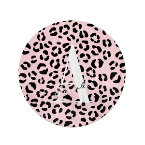 Personalised Leopard Print Pink Black Round Beach Towel