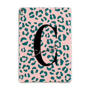 Personalised Leopard Print Pink Green Apple iPad Gold Case