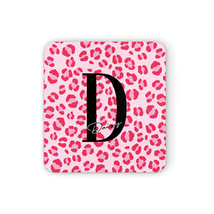 Personalised Leopard Print Pink Red Square Coaster