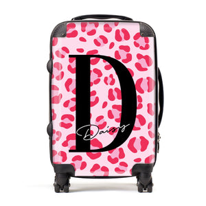 Personalised Leopard Print Pink Red Suitcase