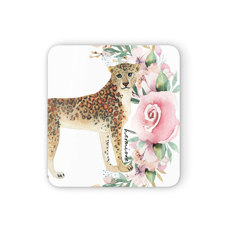 Personalised Leopard Coasters set of 4