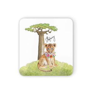 Personalised Lion Cub Square Coaster