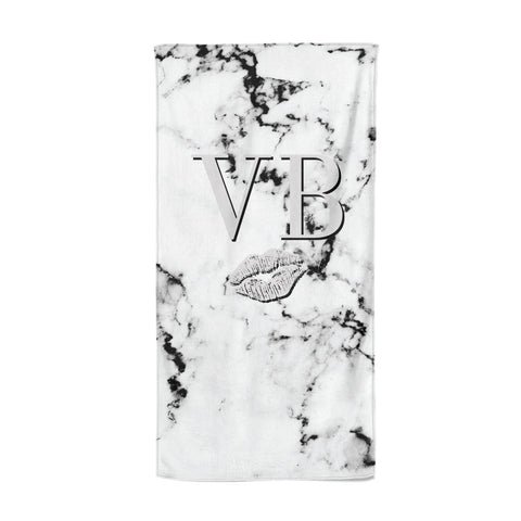 Personalised Lips Kiss Marble Initialed Beach Towel