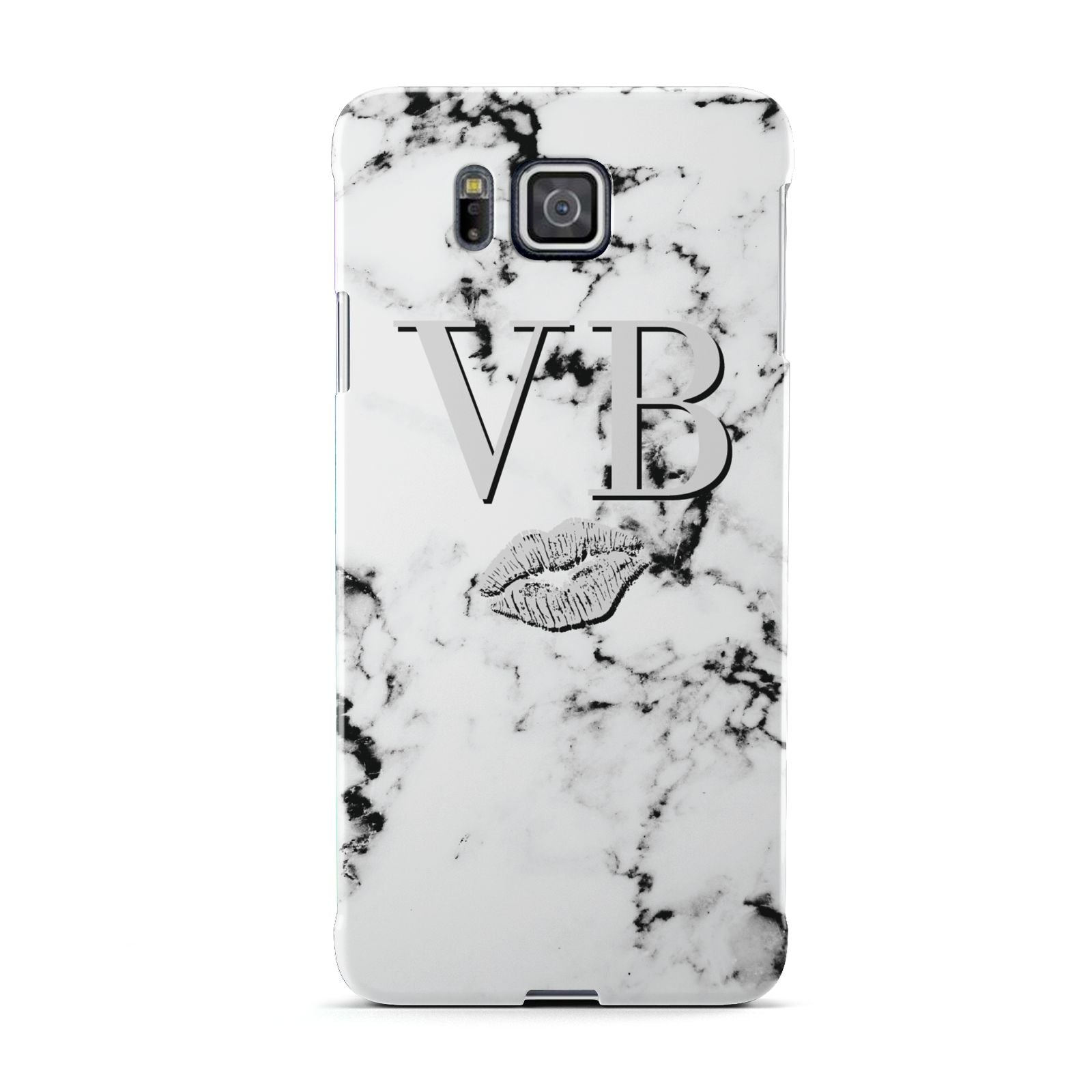 Personalised Lips Kiss Marble Initialed Samsung Galaxy Alpha Case