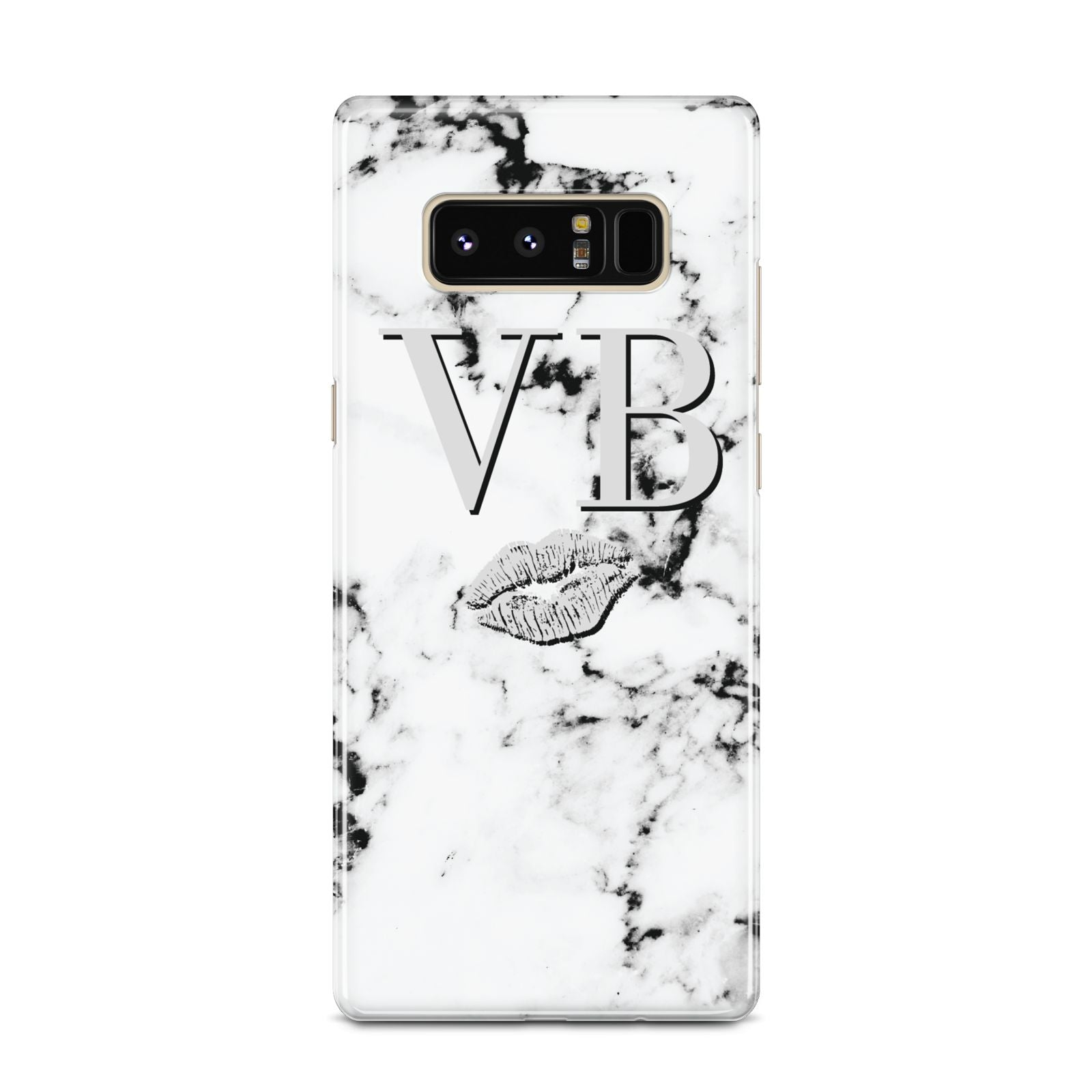 Personalised Lips Kiss Marble Initialed Samsung Galaxy Note 8 Case